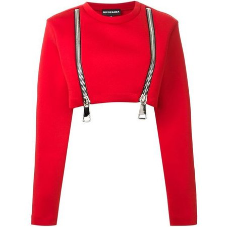 Nicopanda oversized zip cropped sweatshirt