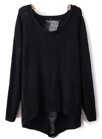black ripped sweater