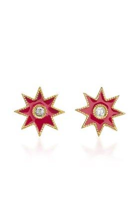 Star 18K White Gold, Enamel and Diamond Earrings by Colette Jewelry | Moda Operandi