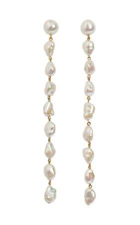 Long Cairo Pearl Earrings By Lizzie Fortunato | Moda Operandi