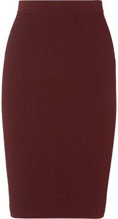 Ribbed-knit Skirt - Burgundy