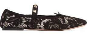 Garavani Studded Corded Lace Ballet Flats