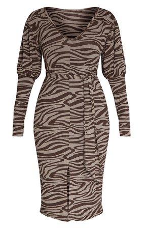 Chocolate Zebra Tie Waist Long Sleeve Midaxi Dress   PrettyLittleThing USA