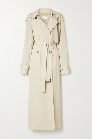 Yeli Belted Double-breasted Woven Trench Coat - Beige