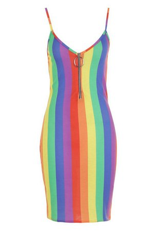 Rainbow Stripe O-Ring Dress | Boohoo