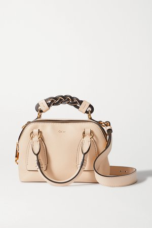 Beige Daria small textured and smooth leather tote | Chloé | NET-A-PORTER