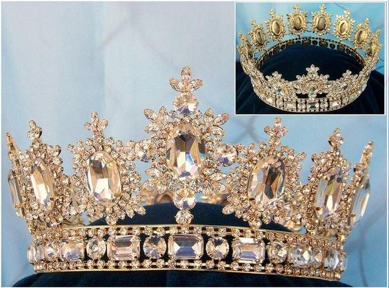 Men's Unisex Rhinestone Gold full CLEAR Royal Premium Crown