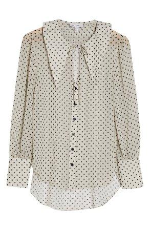 Topshop Polka Dot Oversize Collar Long Sleeve Blouse   Nordstrom