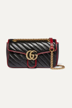 Black GG Marmont small quilted textured-leather shoulder bag | Gucci | NET-A-PORTER