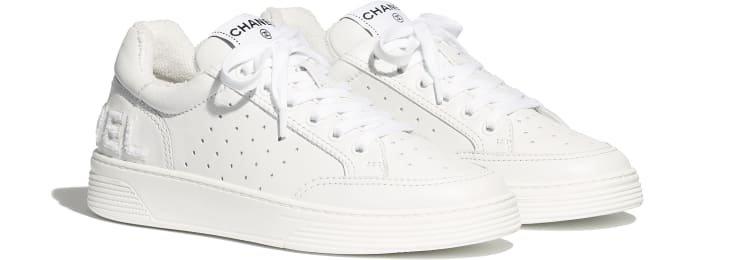 Sneakers, calfskin, white & fuchsia - CHANEL