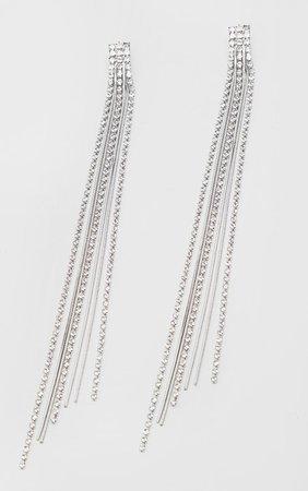 Silver Diamante Tassel Earrings