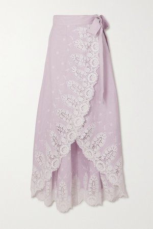 Lilac Clarice asymmetric crocheted cotton and linen wrap skirt | Miguelina | NET-A-PORTER