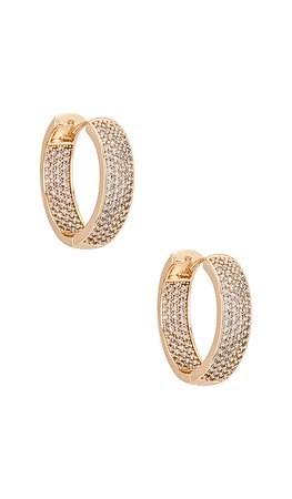 Ettika Crystal Hoop Earrings in Gold | REVOLVE