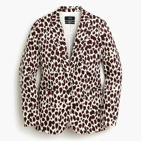 J.Crew: Parke Blazer In Giraffe Printed Bi-stretch Cotton For Women