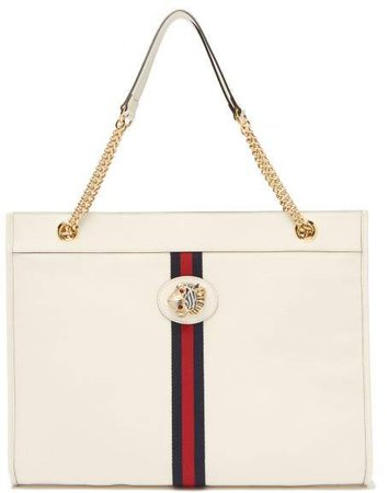 Rajah Web Striped Leather Tote Bag - Womens - White Multi