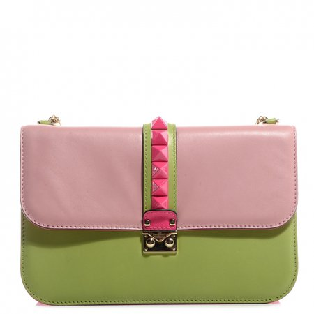 VALENTINO Bi-Color Glam Lock Medium Flap Bag Pink Green 77697