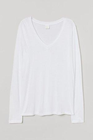 V-neck Jersey Top - White