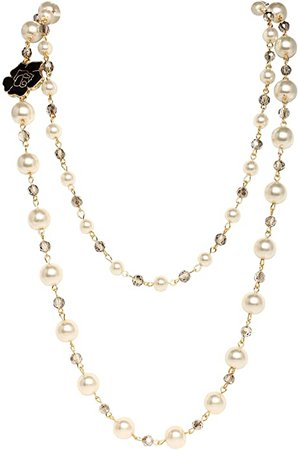 Amazon.com: Fashion jewelry designer statement bridal and chic long imitation pearl black flower strand necklace for women (Black rose): Clothing