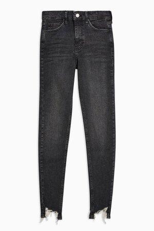 PETITE Washed Black Jagged Hem Jamie Skinny Jeans | Topshop