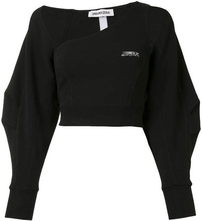 Long Sleeve Asymmetric Crop Top