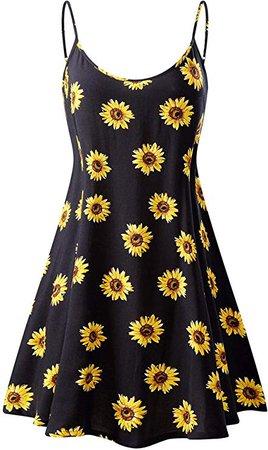 MSBASIC Women's Sleeveless Adjustable Strappy Summer Beach Swing Dress at Amazon Women's Clothing store