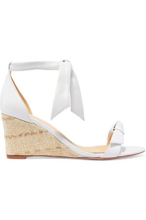 Alexandre Birman | Clarita bow-embellished leather espadrille wedge sandals | NET-A-PORTER.COM