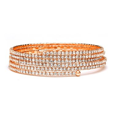 Rose Gold 5-Row Delicate Rhinestone Coil Bracelet - Mariell Bridal Jewelry & Wedding Accessories