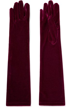 Burgundy Stretch-velvet gloves | Agnelle | NET-A-PORTER