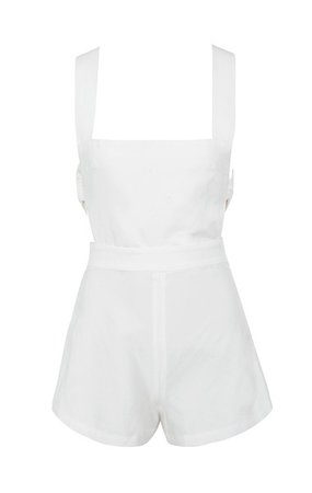 Clothing : Jumpsuits : 'Clarisse' White Strappy Playsuit
