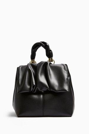 Black Ruched Flap Backpack | Topshop
