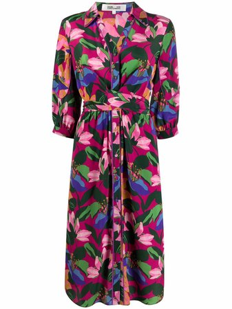 Shop pink & green DVF Diane von Furstenberg floral-print shirt dress with Express Delivery - Farfetch