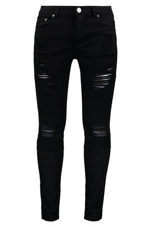 Super Skinny Biker Jeans With Extreme Rips | Boohoo