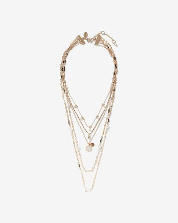 Layered Faux Pearl Pendant Necklace