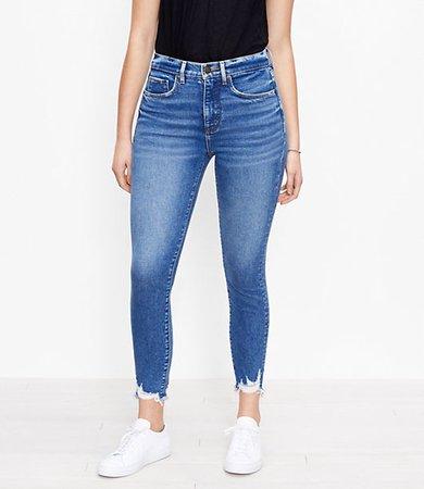 The Curvy Chewed Hem High Waist Skinny Ankle Jean in Vivid Dark Indigo Wash