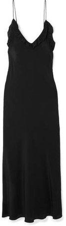 Les Rêveries - Ruffled Silk Crepe De Chine Maxi Dress - Black