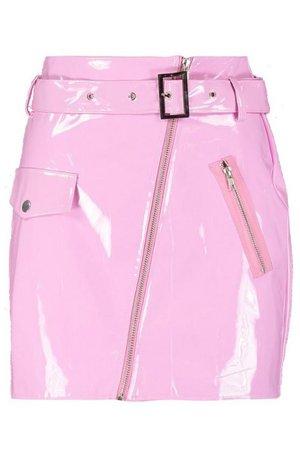 High Shine Vinyl A Line Skirt | Boohoo pink