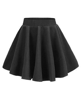 v28 Women Girls Stretch Waist Flared Plain Pleated Casual Mini Skater Skirt at Amazon Women's Clothing store: