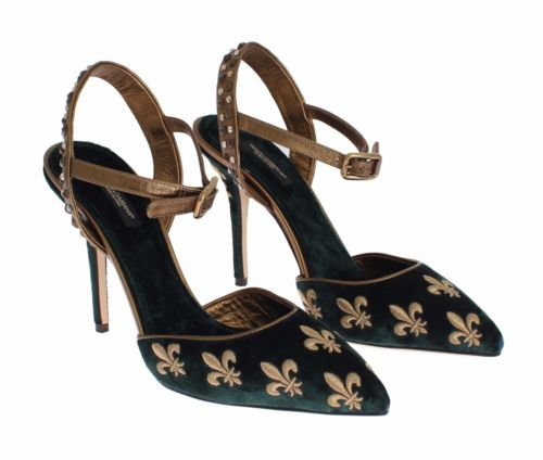 DOLCE & GABBANA Gold Lilly Embroidered Velvet Green Pumps Shoes s.EU40 / US10 | eBay