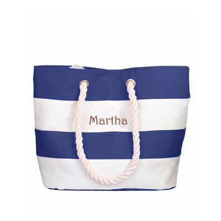 Personalized Large Blue Canvas Beach Tote Bag w/Laser Engraved Name - Walmart.com blue white