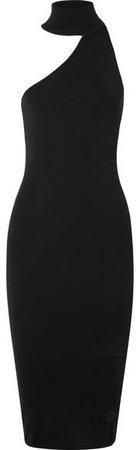 Annecy One-shoulder Stretch-knit Midi Dress - Black