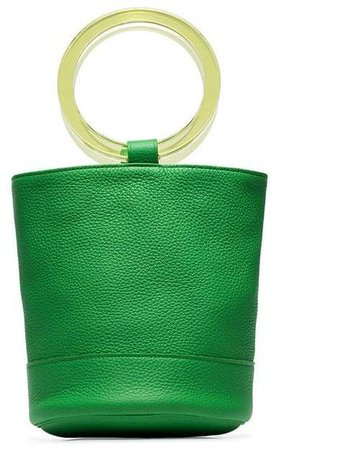lime green Bonsai 20 bracelet handle leather bucket bag
