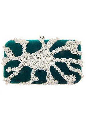 Pearl embellished velvet clutch
