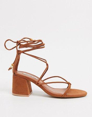 Pull&Bear wrap tie sandals in tan | ASOS