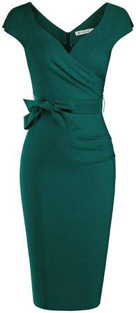Amazon.com: MUXXN Women's 50s Fashion Desgin Split Sleeve Stretch Pencil Dress (Dark Green S): Clothing