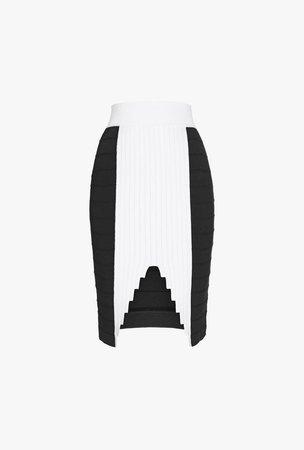 High Waisted Graphic Knit Skirt for Women - Balmain.com