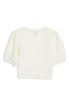 Topshop Puff Sleeve Crop Top white