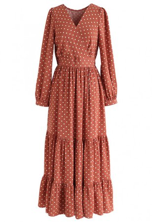 Vintage Dots Wrap Chiffon Dress in Caramel - NEW ARRIVALS - Retro, Indie and Unique Fashion
