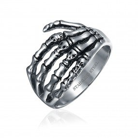 Stainless Steel Gothic Skull Men's Ring - Bling Jewelry