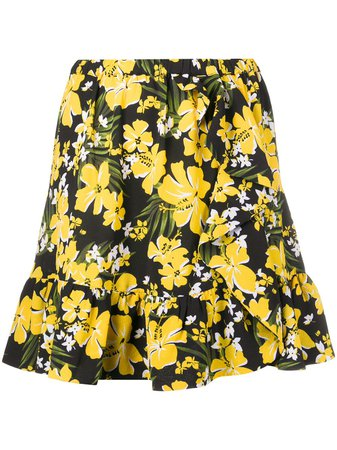 Shop Michael Michael Kors ruffled-hem floral-print crepe mini skirt with Express Delivery - FARFETCH