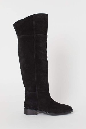 Suede Knee-high Boots - Black